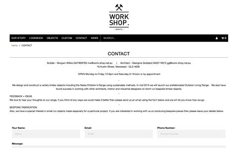 Screenshot of Contact Page work-shop.net.au - CONTACT | WORK SHOP OBJECTS - captured Oct. 7, 2014