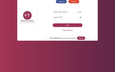 Screenshot of Login Page milaap.org - Sign in or Sign up | Milaap, India's largest crowdfunding website | Milaap - captured Sept. 22, 2018