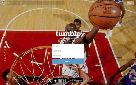 Screenshot of Home Page tumblr.com - Sign up | Tumblr - captured Feb. 19, 2016