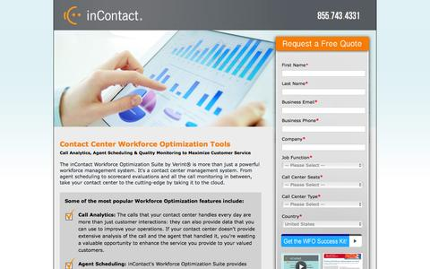 Screenshot of Landing Page incontact.com - Contact Center Workforce Optimization Tools - captured March 2, 2016