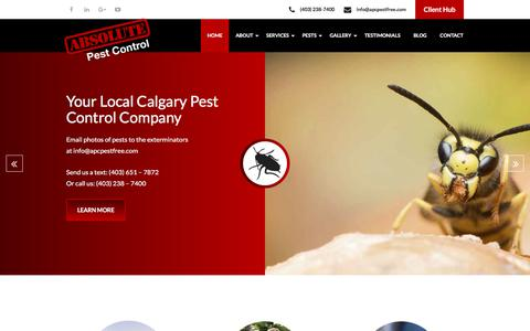 Screenshot of Home Page apcpestfree.com - Calgary Exterminators | Absolute Pest Control Calgary - (403) 238-7400 - T2W 6E4 - captured Sept. 24, 2018