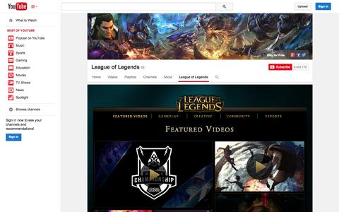 Screenshot of YouTube Page youtube.com - League of Legends  - YouTube - captured Oct. 21, 2014
