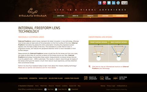 Screenshot of Products Page eyeclectic.ca - Eyeclectic Eyewear - Eyecare Info - Vision and Aging - captured Sept. 30, 2014
