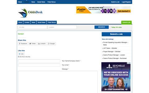 Screenshot of Contact Page oddsdesk.com - Contact Oddsdesk | Betting Jobs | Oddsdesk - captured Oct. 27, 2014