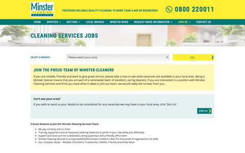 Screenshot of Jobs Page minstercleaning.co.uk - Cleaning Services Jobs | Minster Cleaning Services, UK | - captured Oct. 27, 2017