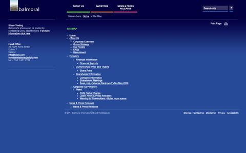Screenshot of Site Map Page bilplc.com - Site Map   Balmoral International Land Holdings plc - captured Oct. 5, 2018