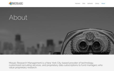 Screenshot of About Page mosaicrm.com - About - Mosaic Research Management - captured Oct. 26, 2014