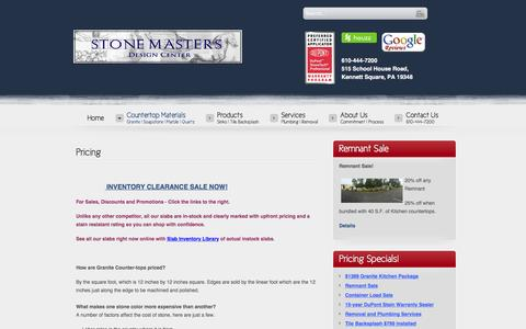Screenshot of Pricing Page stonemastersinc.net - Pricing - captured Jan. 11, 2016