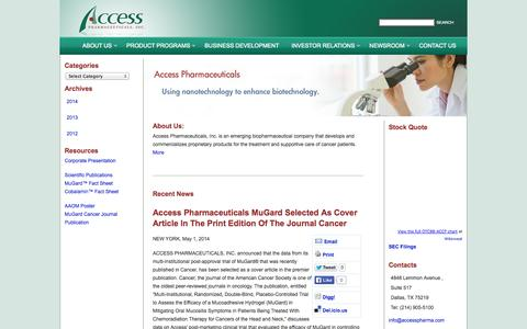 Screenshot of Press Page accesspharma.com - Access Pharmaceuticals, Inc. Newsroom | Breaking News, stock info, SEC filings, multimedia and other information on Access Pharmaceuticals, Inc. - captured Sept. 13, 2014