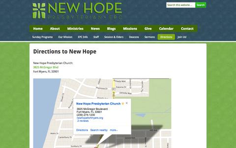 Screenshot of Maps & Directions Page newhopefortmyers.org - Directions to New Hope | New Hope Presbyterian Church - captured Oct. 7, 2014