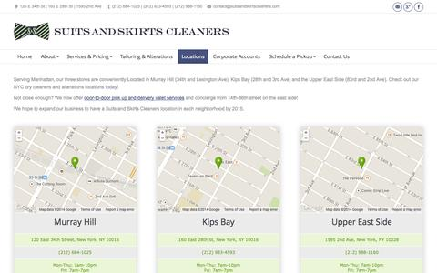 Screenshot of Locations Page suitsandskirtscleaners.com - Locations | Manhattan's Best Dry Cleaning | Suits and Skirts Cleaners - captured Oct. 7, 2014
