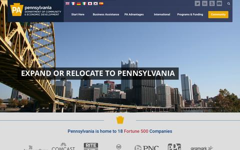 Screenshot of Home Page newpa.com - PA Department of Community & Economic Development - captured Oct. 25, 2015