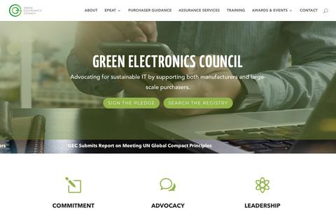 Screenshot of Home Page greenelectronicscouncil.org - Green Electronics Council | Sustainability for today and tomorrow - captured Nov. 4, 2018