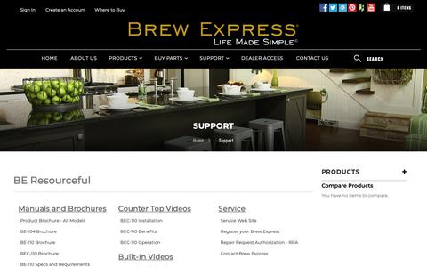 Screenshot of Support Page brewexpress.com - Support - captured Nov. 10, 2018