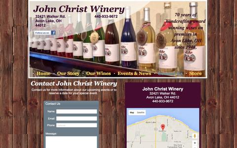 Screenshot of Contact Page homestead.com - John Christ Winery - captured June 18, 2016