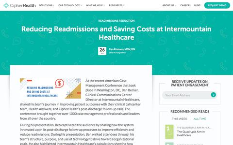 Screenshot of Pricing Page cipherhealth.com - Reducing Readmissions and Saving Costs at Intermountain Healthcare   Cipherhealth - captured Jan. 1, 2020