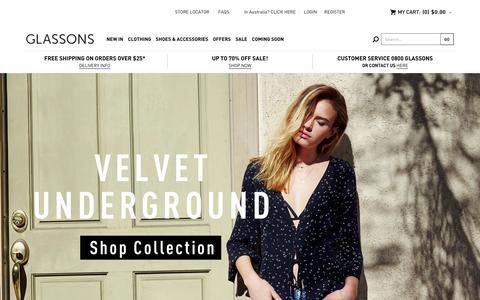 Screenshot of Home Page glassons.com - Glassons - Womens Fashion - captured Feb. 12, 2016