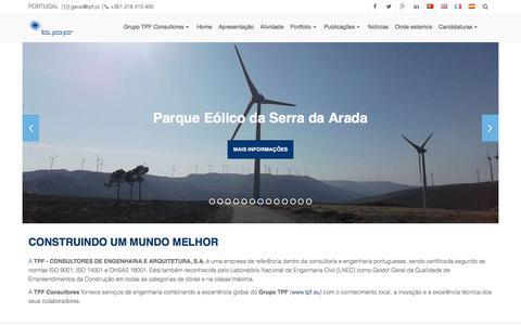 Screenshot of Home Page tpf.pt - CONSTRUINDO UM MUNDO MELHOR - TPF - CONSULTORES DE ENGENHARIA E ARQUITETURA, S.A. - captured July 10, 2018