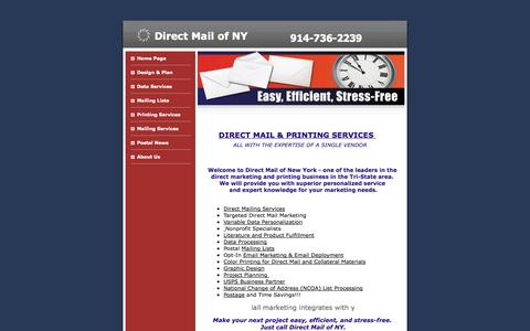 Screenshot of Home Page directmailofny.com - Direct Mail NY Home Page - captured Sept. 30, 2014