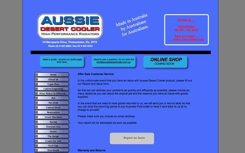 Screenshot of Support Page aussiedesertcooler.com.au - Customer Service - captured July 31, 2018