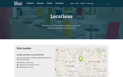 Screenshot of Locations Page bluuco.com - Locations | bluu London & bluu Birmingham - captured Sept. 30, 2014