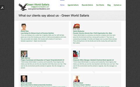 Screenshot of Testimonials Page greenworldsafaris.com - Testimonials, Uganda Safaris, Gorilla Safaris, Vacation Safaris, Holiday Tours - Green World Safaris - captured Sept. 30, 2014