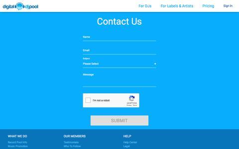 Screenshot of Contact Page digitaldjpool.com - Contact Us - captured Aug. 7, 2018