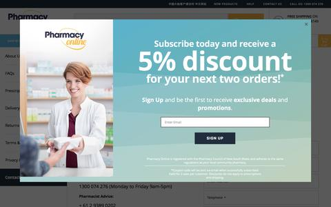 Screenshot of Contact Page pharmacyonline.com.au - Contact Us - captured July 17, 2018