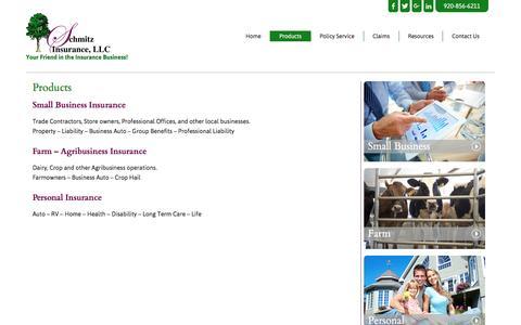 Screenshot of Products Page schmitzinsurance.com - Products | Door County Insurance - captured Nov. 19, 2016