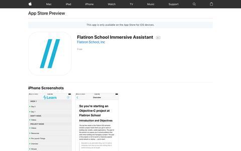 Flatiron School Immersive Assistant on the AppStore