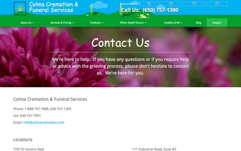 Screenshot of Contact Page colmacremation.com - Contact Us | Colma Cremation & Funeral Services - captured Sept. 28, 2018