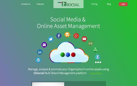 Screenshot of Home Page gisocial.com - GI Social | Social Media & Campaign Management Tool - captured July 18, 2015