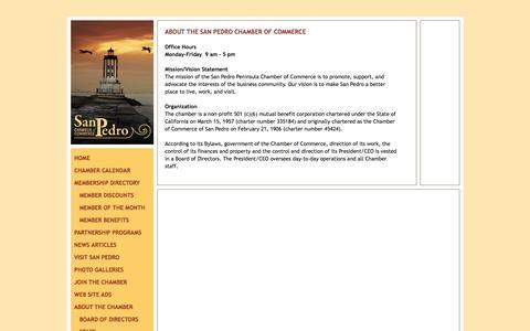 Screenshot of About Page sanpedrochamber.com - About the San Pedro Chamber of Commerce - SanPedroChamber.com - captured March 5, 2016