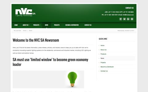 Screenshot of Press Page nvcsa.co.za - LED Lighting Technology | Residential & Commercial Lighting News | NVC - captured Oct. 8, 2014