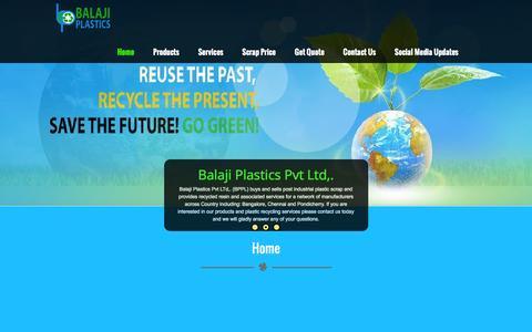Screenshot of Home Page balajiplastics.com - Home - Balaji Plastics - captured July 27, 2016