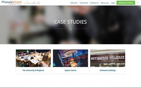 Screenshot of Case Studies Page procurewizard.com - Procure Wizard Case Studies - captured July 23, 2018