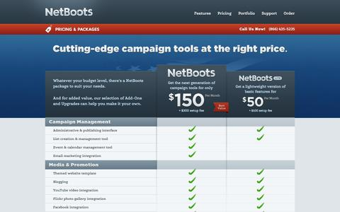 Screenshot of Pricing Page netboots.net - Pricing & Packages | NetBoots - captured Sept. 25, 2014
