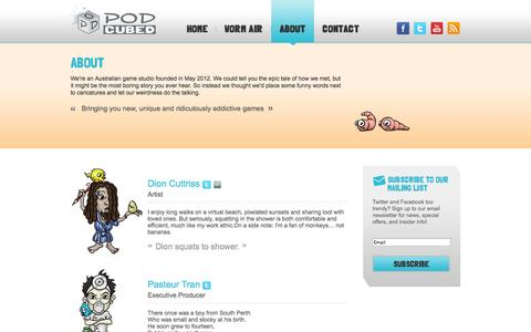 Screenshot of About Page podcubed.com - Pod Cubed » About - captured Sept. 30, 2014