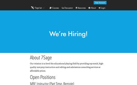 Screenshot of Jobs Page 7sage.com - We're Hiring! - 7Sage lsat - captured Sept. 22, 2018