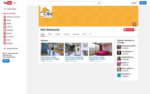 Screenshot of YouTube Page youtube.com - Obèr Makelaardij  - YouTube - captured Oct. 26, 2014