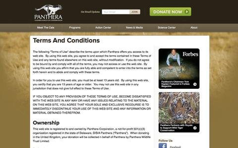 Screenshot of Terms Page panthera.org - Terms And Conditions | Panthera - captured Sept. 19, 2014