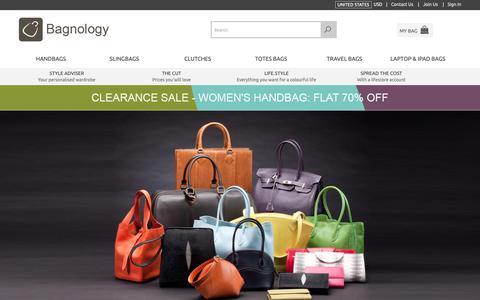 Screenshot of Home Page bagnology.com - Handbags for Women | Huge range of Designer Handbags | Buy Women Purses, Wallets, Clutches, Sling Bags - captured Oct. 23, 2018