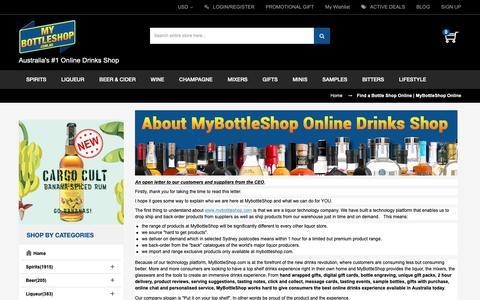 Screenshot of About Page mybottleshop.com.au - Find a Bottle Shop Online | MyBottleShop Online | MyBottleShop Australia - captured Sept. 28, 2018