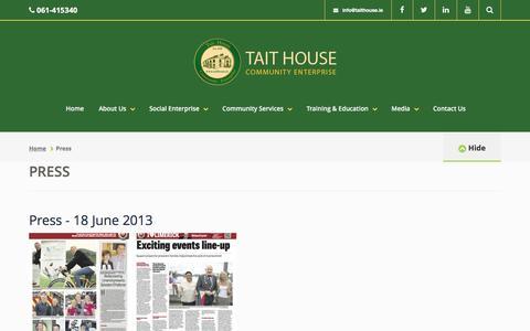 Screenshot of Press Page taithouse.ie - Press - Tait House Community Enterprise - captured Nov. 28, 2016