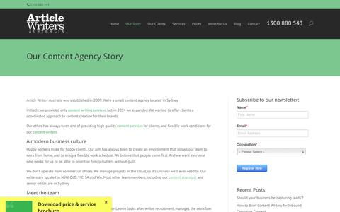Screenshot of Team Page articlewriters.com.au - About Our Content Agency - Article Writers Australia - captured July 12, 2017