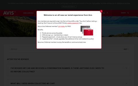 Screenshot of FAQ Page avis.co.za - FAQs - Car Rental Conditions | Avis South Africa - captured Oct. 28, 2017