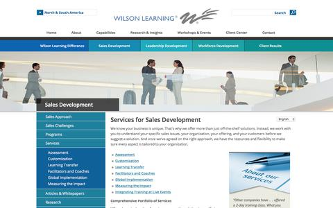 Screenshot of Services Page wilsonlearning.com - Sales Development   Sales Skills Training   Wilson Learning Worldwide - captured July 9, 2019