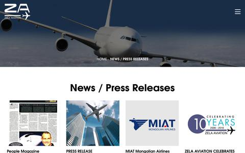 Screenshot of Press Page zelaaviation.com - News / Press Releases - Zela Aviation - captured Oct. 20, 2018