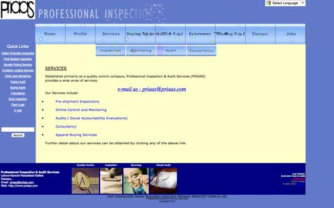 Screenshot of Services Page priaas.com - Inspection Company Bangladesh and Pakistan - captured Oct. 3, 2014