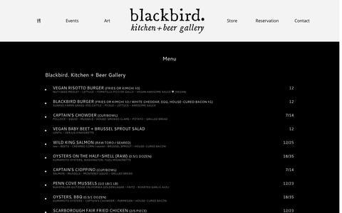 Screenshot of Menu Page blackbird-kitchen.com - blackbird. Kitchen+Beer Gallery Menu   - captured Oct. 5, 2014